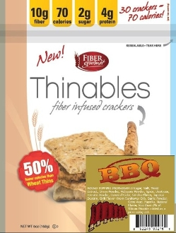 Fiber Gourmet BBQ Thinables Low Calorie Crackers